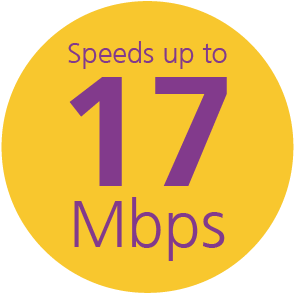 Speeds up to 17 mbps