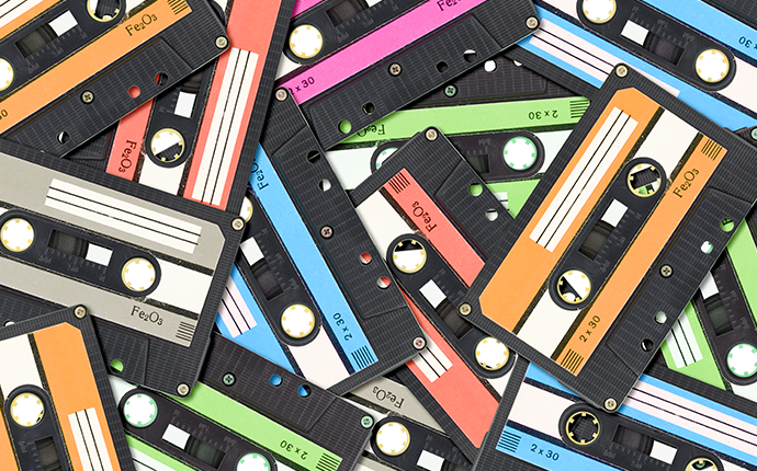 Cassette tapes with colourful labels